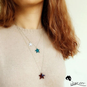 Starfish silver and crystal nevklace,silver mecklsce,handmade silver neclace,timy starfish necklace,