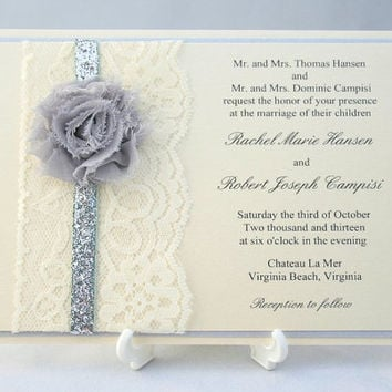 Silver Sparkle and Lace Wedding Invitation with Shabby Chic Chiffon Flower - Sample