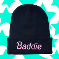 Barbie Baddie Beanie /Pink and Black Womens Knit Woven Embroidered Hat / Not Your Typical Barbie