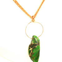 Green Stone Necklace Impression Jasper Pendant on Vintage Copper Chain
