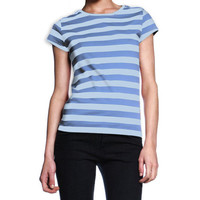Womens Striped Blue T-Shirt Nautical Stripes Summer Top Sizes S M L - NEW!