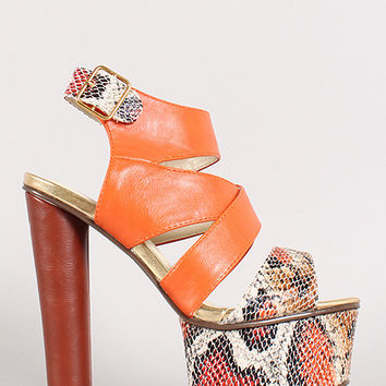 Strappy Open Toe Platform Heel