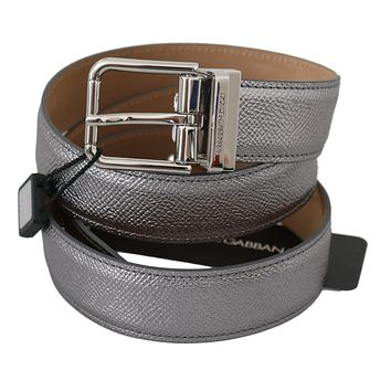 Dolce & Gabbana Silver Leather Shiny Metal Buckle Belt