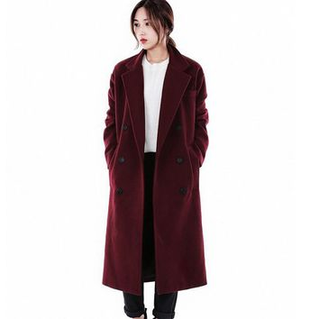 Winte new wool coat women 's long loose double breasted plus thick cashmere coat large size female