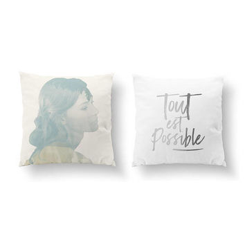 SET of 2 Pillows, Tout Est Possible, French Quote, Gold Pillow, Beautiful Girl, Bed Pillow, Double Exposure, Throw Pillow, Cushion Cover