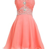 Fashion Plaza Short Chiffon Strapless Crystal Homecoming Dress D0263 (US14, Coral)