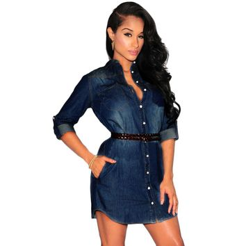 Turn-Down Collar Front Pocket Denim Cowboy Short Mini Dress