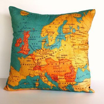 Organic cotton Vintage Europe Map cushion cover by mybeardedpigeon