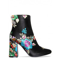 Fifi Black Floral Block Heel Ankle Boots : Simmi Shoes