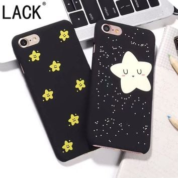 Best Gift Smile Twinkle Stars Phone Cases For iphone 6 Coque For iPhone 6S /7 7Plus /5 5S Hard PC Black Back Cover Capa Fundas