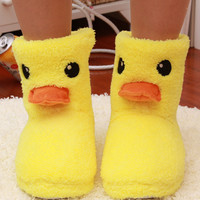 2016New Big Yellow Duck Cute Cotton Slippers Women Winter Warm Home Cotton-padded Shoes Soft bottom Indoor Plush CartoonSlippers