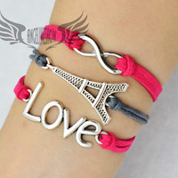 Bracelet, To Infinity and Beyond, Infinity, Infinity Wish, Eiffel Tower, La Tour Eiffel, Love, Pink, Grey Suede, Christmas Gift