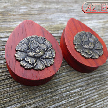 "Exotic Wood ""BRONZE FLOWER"" TEARDROP Plugs -1 New Pair - 1-3/16"" thru 1-5/8"""