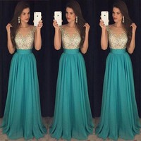 Women Formal Wedding Bridesmaid Sleeveless Long Evening Party Ball Prom Dress US