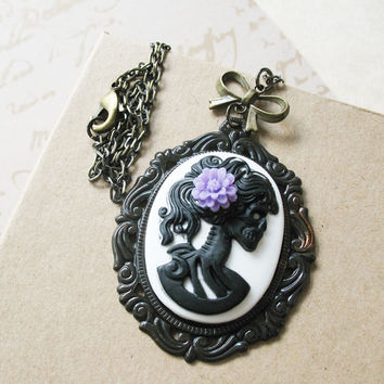 Victorian Gothic Lady Skeleton Necklace - Lenore - Love After Death - Black On White