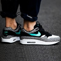 NIKE AIR MAX 1 Anniversary GO Print Women Men Contrast Sneakers B-A-QDSK-Buy Micro  Black/print
