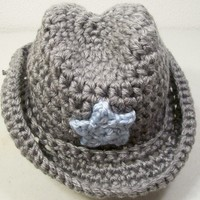 Baby Cowboy Hat-Gray with Blue- Baby Shower Gift-PLEASE CHOOSE SIZE NEEDED