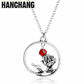 Fashion Jewelry Movie Beauty Beast Necklace Rose Flower Pendant Beauty And The Beast Necklace Women Girls Beauty Accessories