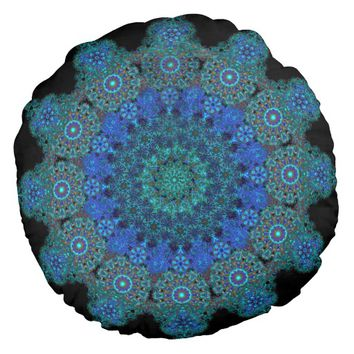 delicate turquoise mandala round pillow