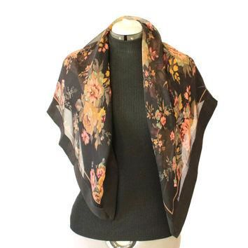80s floral scarf. Ralph Lauren collection. Black brown peach. Sheer scarf. Gift for he