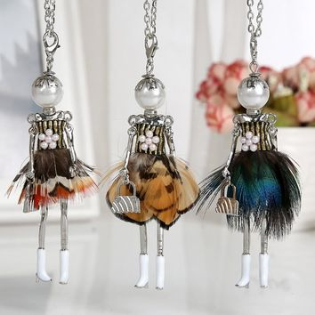 2018 new baby doll lovely necklace for women handmade brand statement jewelry girl Peacock feather pendant fashion long necklace