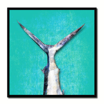 Sailfish Fish Tail Art Aqua Canvas Print Picture Frame Wall Home Decor Nautical Fishing Gifts