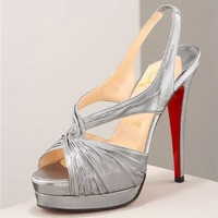 Christian Louboutin Fashion Edgy Silver strips Cross Heels Shoes
