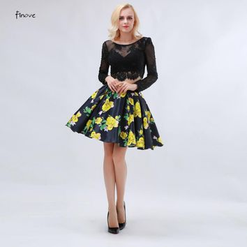 Printing Homecoming Dresses for Short Girls With Satin Long Sleeve Two Piece Black Lace Prom Patry Gowns