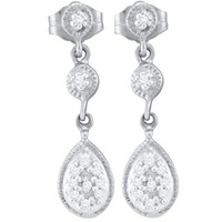 Diamond Fashion Earrings in 10k White Gold 0.12 ctw