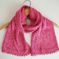 Pink Vegan Knitted Lace Shawl Vintage Style Wide Lace Spring Scarf Downton Victorian Edwardian