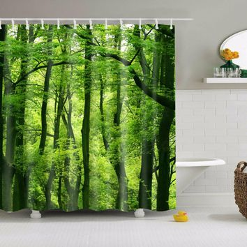 3D Shower Curtain Green Forest Bathroom Drapes Curtains Nature Pattern Waterproof Polyester Fabrics Bathing Curtain 180*180cm