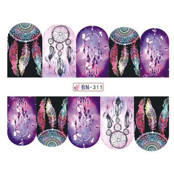 Hot Sale 1 pcs Deep Color Dream Catcher Full Cover Nail Art Water Wraps Sticker Decal For Nails Tools BN311