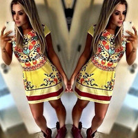 2016 Popular Women's Fashion Floral Printed Retro Vintage Tribal Casual Sleeveless Chiffon Spaghetti Strap Party Beach Summer Mini Dress _ 3119