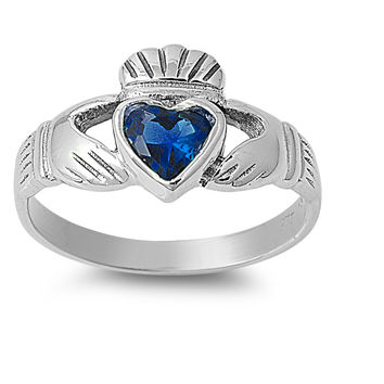 925 Sterling Silver CZ Love Claddagh Simulated Sapphire Ring 12MM