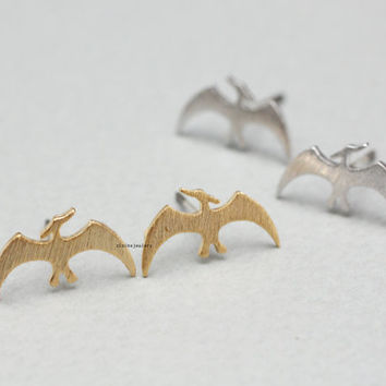 Dino Dinosaur, Pterodactyl ,Pteranodon Stud Earrings in 3 colors, E0835K