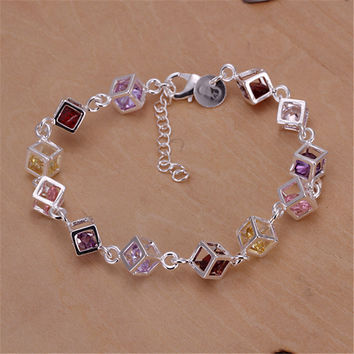 Fine Jewelry Silver Bracelets for Women Pulseras Colorful Cubic Zirconia Bracelets & Bangles BG015