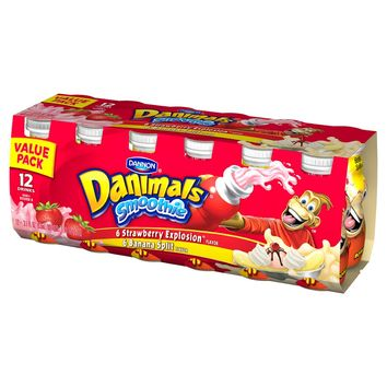 Dannon Danimals Strawberry Explosion/Banana Split Smoothie - 12oz