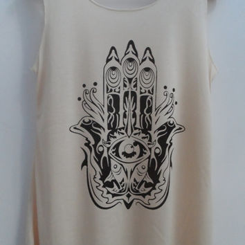 HAMSA HAND Shirt Hand of Fatima Shirts Tank top Pop Punk Rock Tank Top Vest Women T shirt Unisex T-Shirt SizeS,M,L