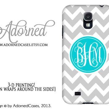Samsung Galaxy s4 case monogram, personalized Galaxy 4 cover, grey chevron turquoise circle monogram, plastic or tough case