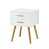 Modern 2-Drawer End Table Nightstand in White with Mid-Century Style Wood Legs