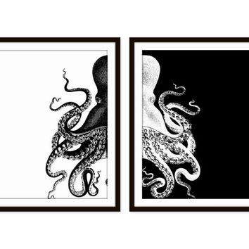 Black and white octopus art galleryhip com the hippest