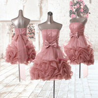 Strapless Bowknot Ruffles Organza Cocktail Dresses/Homecoming Dresses/Dress prom/Evening Dresses/Short Cocktail Dress/Celebrity Dress/X147