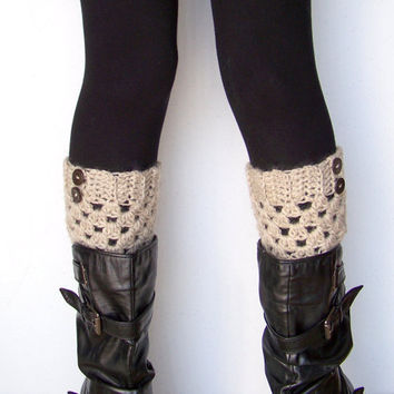 Crochet Boot Cuffs in Oatmeal with Buttons - Natural Wool - Boot Socks, Leg Warmers, Boot Toppers
