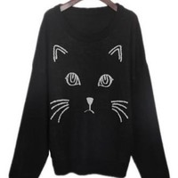 Free Shipping Black Embroidered Cat Round Neck Loose Sweater