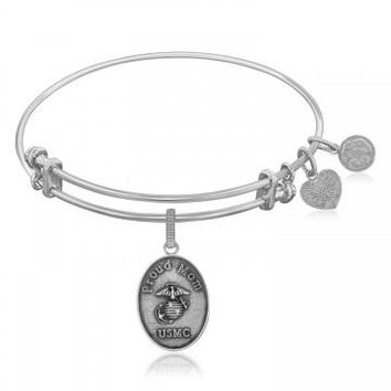 Expandable Bangle in White Tone Brass with U.S. Marine Corps Proud Mom Symbol