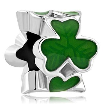 CharmsStory Green Three Leaf Clover Charms Shamrock Good Lucky Beadss For Bracelets