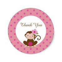 Monkey Girl Baby Shower Favor Gift Tags Sticker