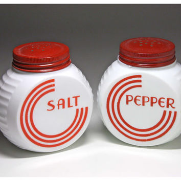 Vintage Red and White Salt and Pepper Shakers by Hocking