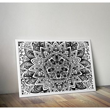 Black and White Mandala Poster Bohemian Art Print Poster  Design no frame 20x30 Large