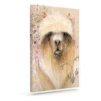 "Geordanna Cordero-Fields ""Llama Me"" Tan Outdoor Canvas Wall Art"